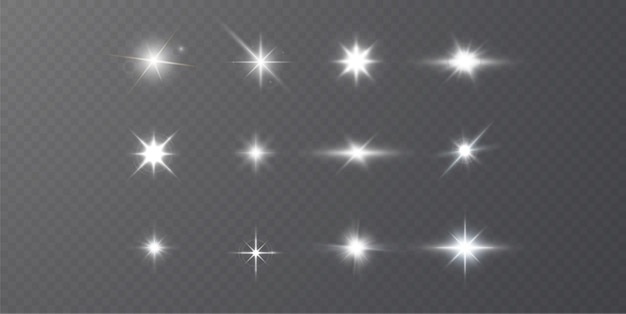 Estrellas brillantes aisladas sobre un fondo blanco transparente. efectos, deslumbramiento, luz blanca, set.