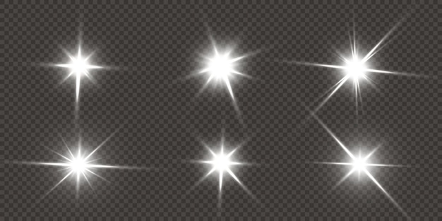 Estrellas brillantes aisladas sobre un fondo blanco transparente