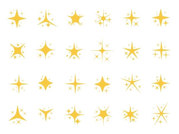 Estrellas brillantes. chispas brillantes, estrella de luz brillante y elementos brillantes.
