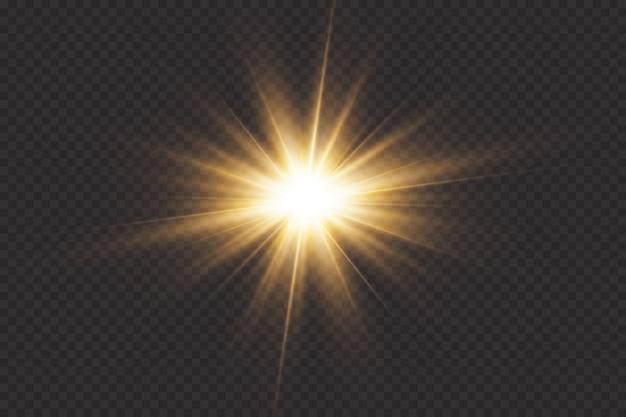 Estrellas brillantes, efectos, deslumbramiento, líneas, brillo, explosión, luz dorada