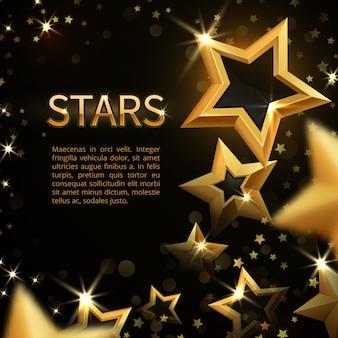 Estrellas brillantes del oro chispeante en fondo abstracto negro de la magia del día de fiesta. banner con oro brillante mágico estrella brillante
