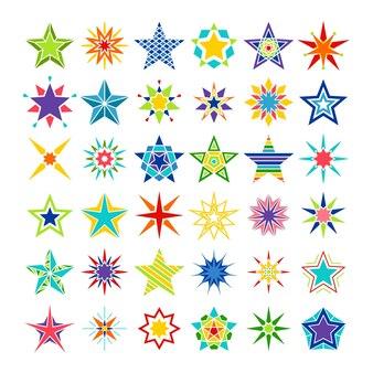 Estrellas de caleidoscopio. loco, multicolor, estrella, conjunto, aislado