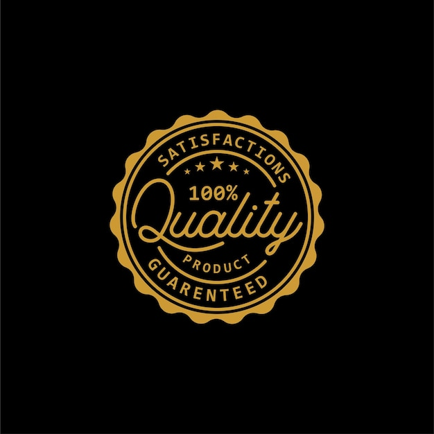 Estrellas de calificación calidad garantizada diseño de logotipo de sello de producto