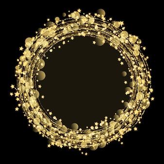 Estrellas de oro y fondo de brillo