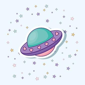 Estrellas decorativas alrededor de un icono de nave espacial