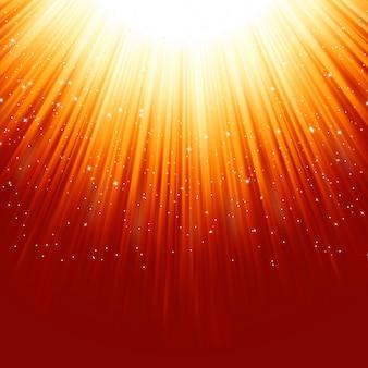 Estrellas descendiendo en un camino de luz dorada.