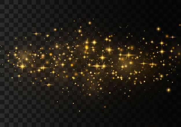 Las estrellas doradas brillan con una luz especial. partículas de polvo mágico espumoso.