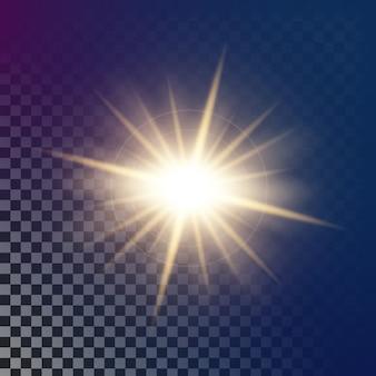 Las estrellas con efecto de luz resplandeciente estallan con destellos.