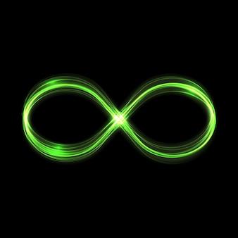 Las estrellas de efecto de luz verde resplandor infinito estallan con destellos isol
