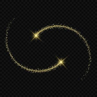 Las estrellas con efecto de resplandor de luz mágica estallan con destellos aislados en un rastro de luz transparente