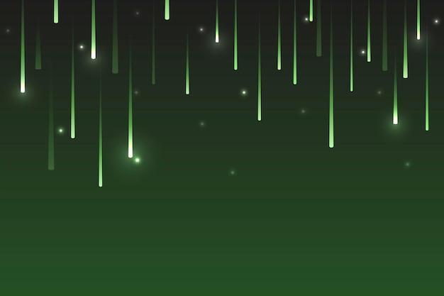 Estrellas fugaces de neón verde sobre un fondo oscuro