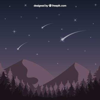 Estrellas fugaces sobre las montañas