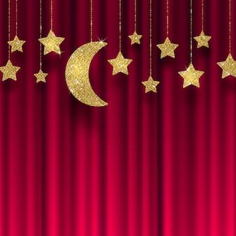 Estrellas de oro brillo y luna sobre un fondo de cortina roja - ilustración.
