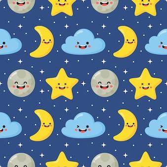 Estrellas de patrones sin fisuras, luna y nubes. fondo de pantalla kawaii sobre fondo azul.
