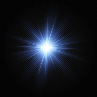 Estrellas plateadas brillantes efecto de luz estrella brillante estrella de navidad luz azul brillante