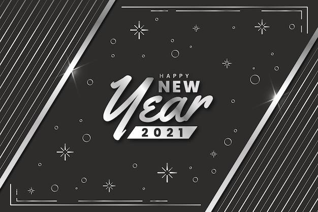 Estrellas y puntos plata feliz año nuevo 2021