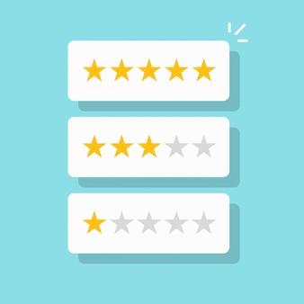 Las estrellas de revisión de calificación en burbujas blancas con buena y mala tasa de testimonio vector de dibujos animados plana