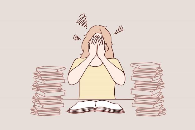 Estrés mental, educación, frustración, aprendizaje, concepto de ataque de pánico.