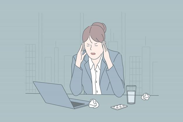 Estrés, negocios, estado psicológico, lluvia de ideas, concepto de migraña