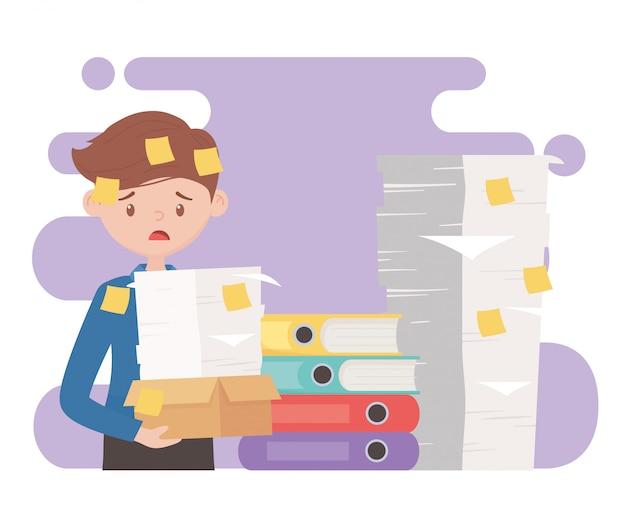 Estrés en el trabajo, empleado preocupado con pila de documentos y muchas notas adhesivas