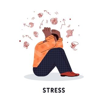 Estresado hombre personaje sosteniendo su cabeza ilustración vectorial aislado.