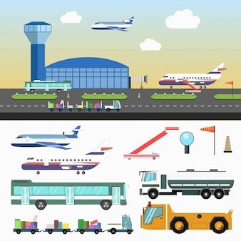 Estructura de aeropuerto y vehículos especiales sobre blanco.