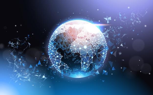 Estructura de alambre de malla polivinílica baja futurista del globo terráqueo en concepto de red global de fondo azul