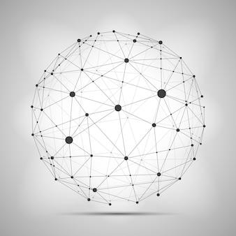 Estructura de alambre que conecta la esfera de la tierra.