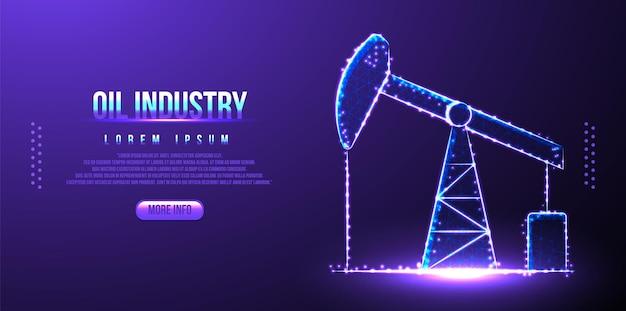 Estructura alámbrica de baja poli de la industria petrolera de la plataforma, diseño poligonal