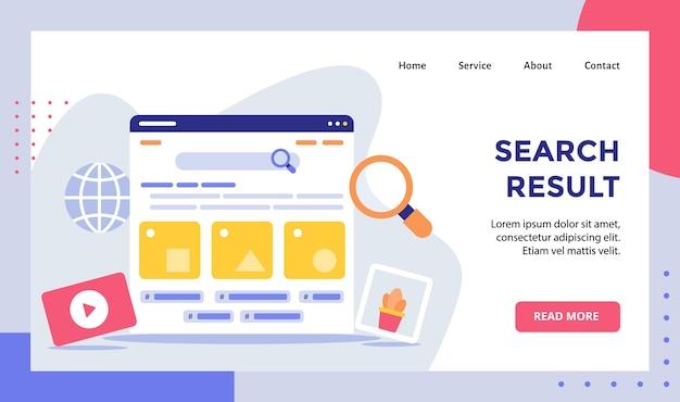 Estructura alámbrica de resultados de búsqueda en la campaña del monitor