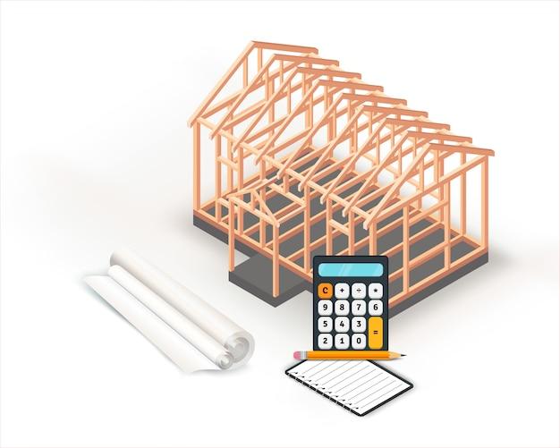 Estructura de la casa de madera de construcción de base de diseño.