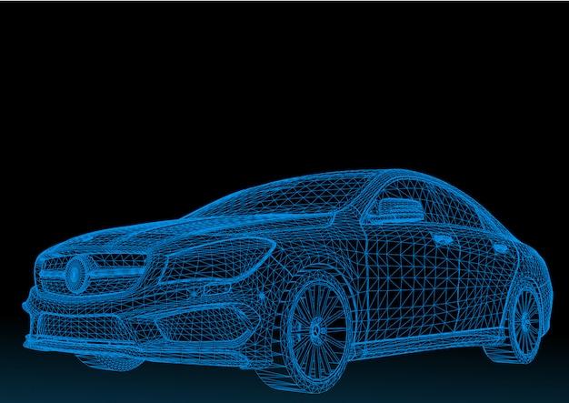 Estructura del cuerpo del modelo del automóvil, modelo de alambre