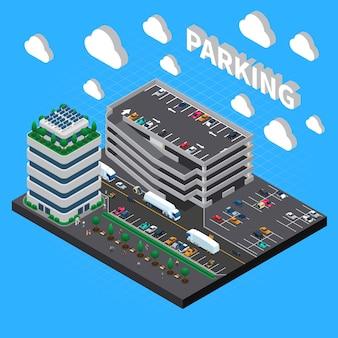 Estructura de garaje de varios pisos edificio de estacionamiento de varios niveles con composición isométrica de lotes apilados en interiores y exteriores