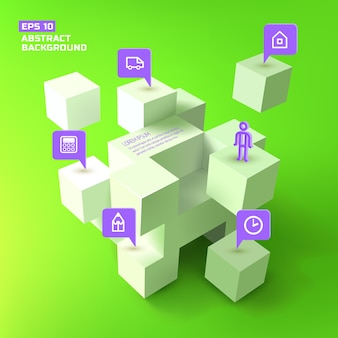 Estructura geométrica de cubos blancos 3d y punteros comerciales