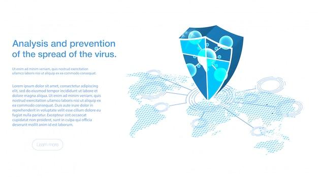 Estructura de micro molécula hexagonal abstracta sobre fondo azul escudo con protección