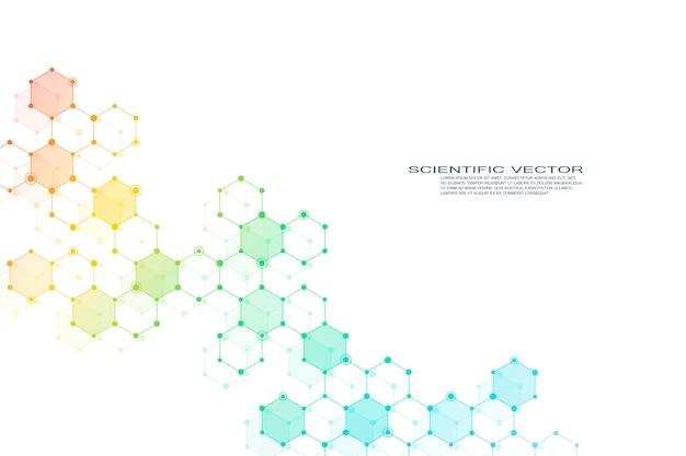 Estructura de la molécula hexagonal adn del sistema de neuronas, compuestos genéticos y químicos. yo