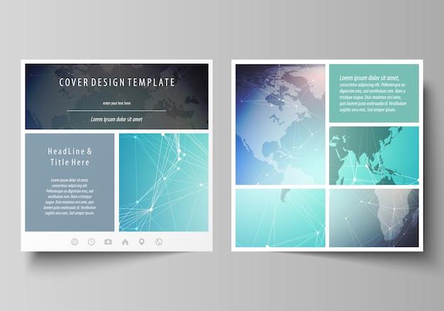 Estructura de la molécula, líneas de conexión y puntos. tecnología. diseño de ilustración minimalista de dos plantillas de portadas de formato cuadrado para folleto, folleto, revista.