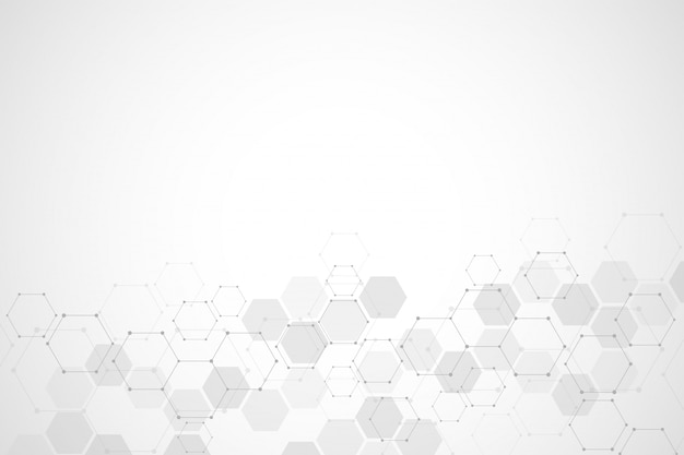 Estructura molecular abstracta y fondo de elementos químicos