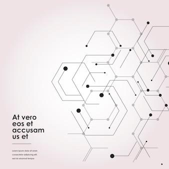 Estructura molecular de conexión moderna con hexágono.
