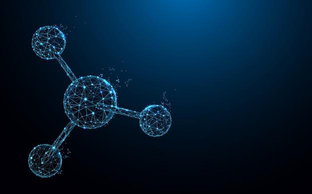 Estructura molecular forma líneas y diseño de estilo de partícula