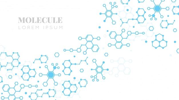 Estructura molecular. investigación de medicina, adn o ciencias de la química. fondo de plantilla de presentación de biotecnología
