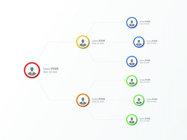 Estructura organizacional de la empresa. elementos de infografía de jerarquía empresarial.