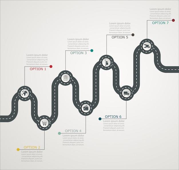 Estructura paso a paso de la línea de tiempo de la infografía del camino con iconos, servicio comercial, compras, entrega web