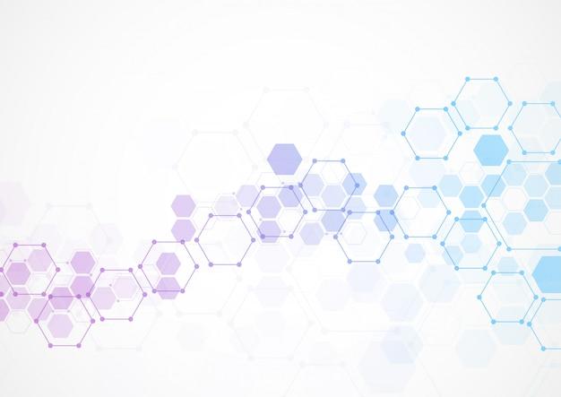 Estructuras moleculares hexagonales abstractas en tecnología.