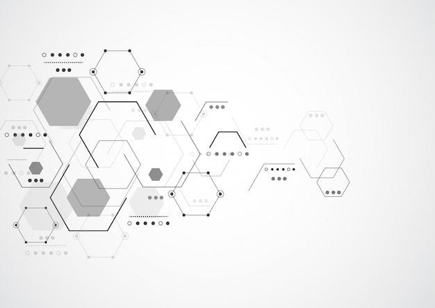 Estructuras moleculares hexagonales abstractas.
