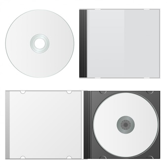 Estuche y disco en blanco. plantilla de cd packaging. ilustracion vectorial