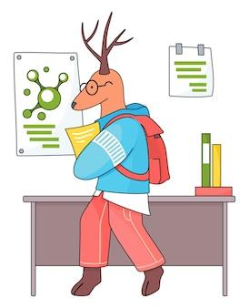 Estudiante de animales. un colegial de ciervos con libro de ejercicios en las manos en clase de química