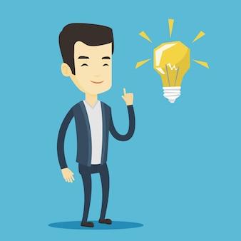 Estudiante apuntando a la ilustración de vector de bombilla de idea