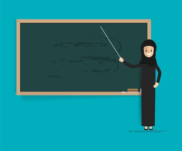 Estudiante árabe o profesor con pizarra.