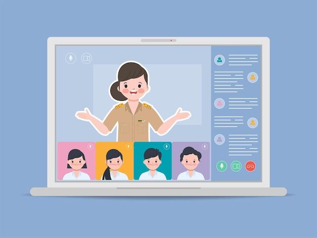 Estudiante de bangkok que estudia en casa. educación escolar en línea con concepto de internet wifi.